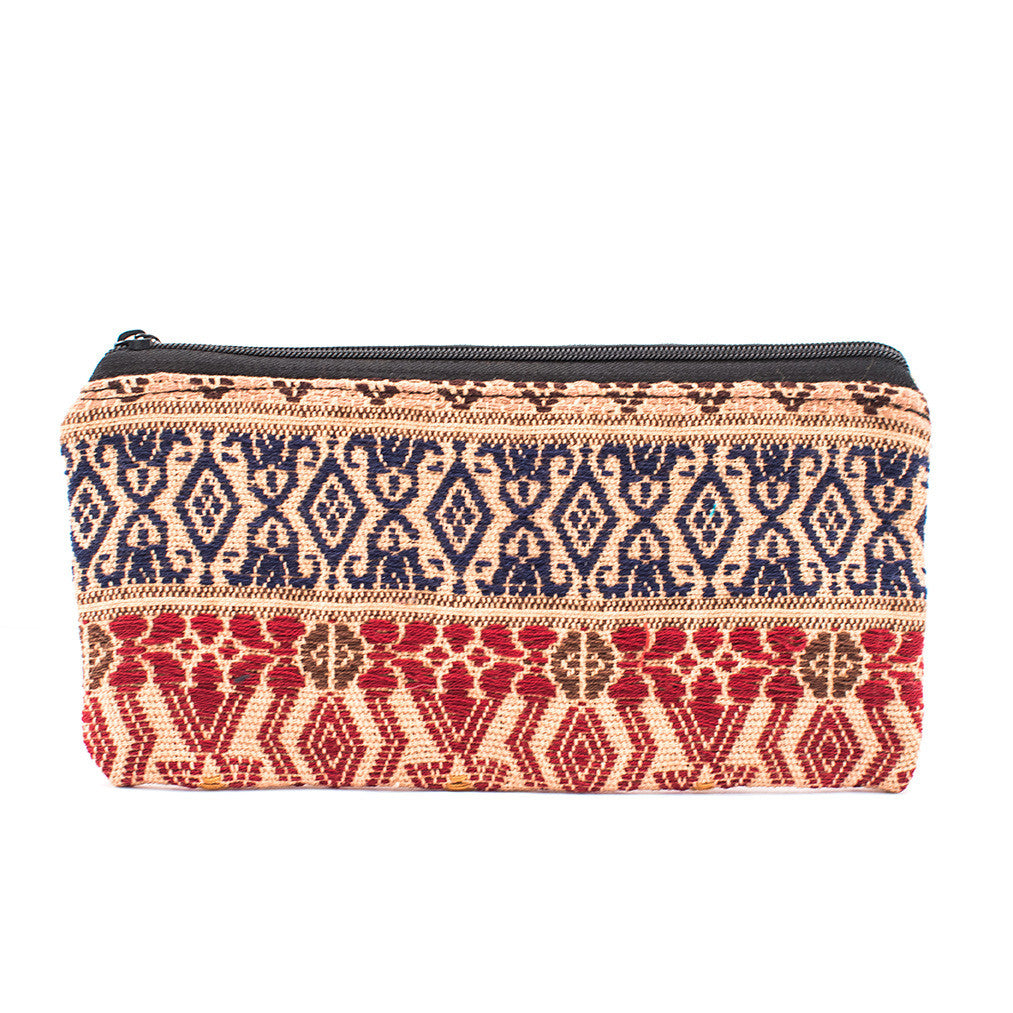 Lucia's World Emporium Fair Trade Handmade Guatemalan Zig Zag Cosmetic Bag