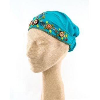 Lucia's World Emporium Fair Trade Handmade Guatemalan Cotton Embroidered Headband hand stitched floral pattern elastic gather