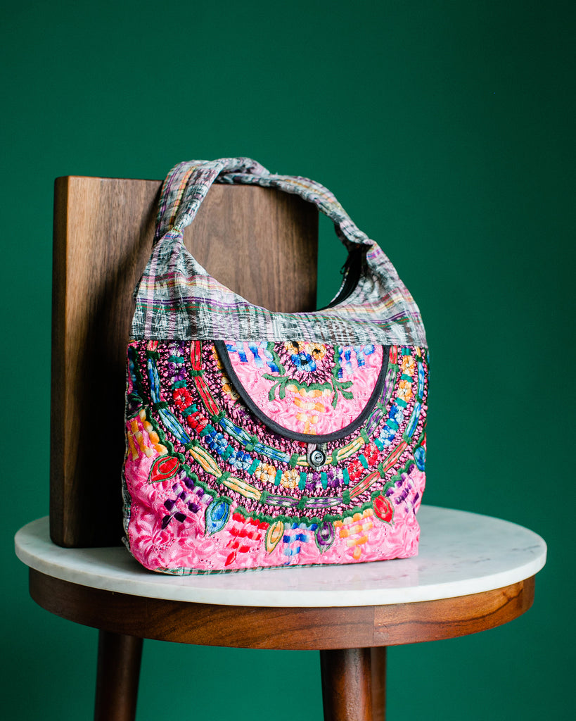 fair trade handmade huipil upcycled handbag