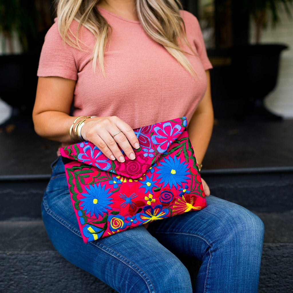 Lucia's World Emporium Fair Trade Handmade Guatemalan Fiesta Clutch Medium
