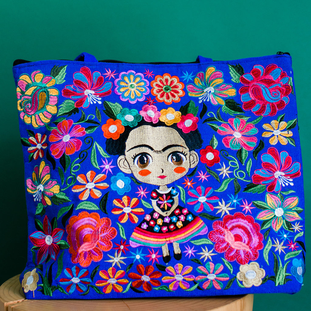 baby frida embroidered tote fair trade purse