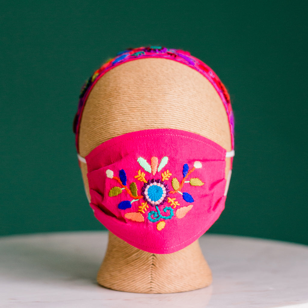 Children's Fair Trade hand embroidered Face Mask triple layer lining. Handcrafted 100% cotton
