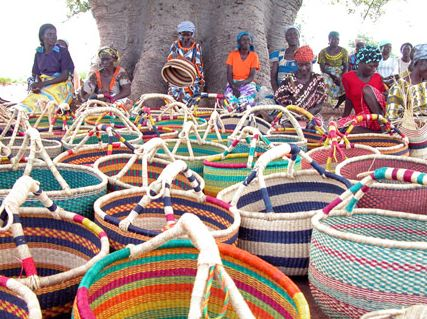 "African Market Baskets hand-made Baskets are unique and made from river grass, known as ""elephant grass"" by local weavers in Bolgatanga, Ghana."