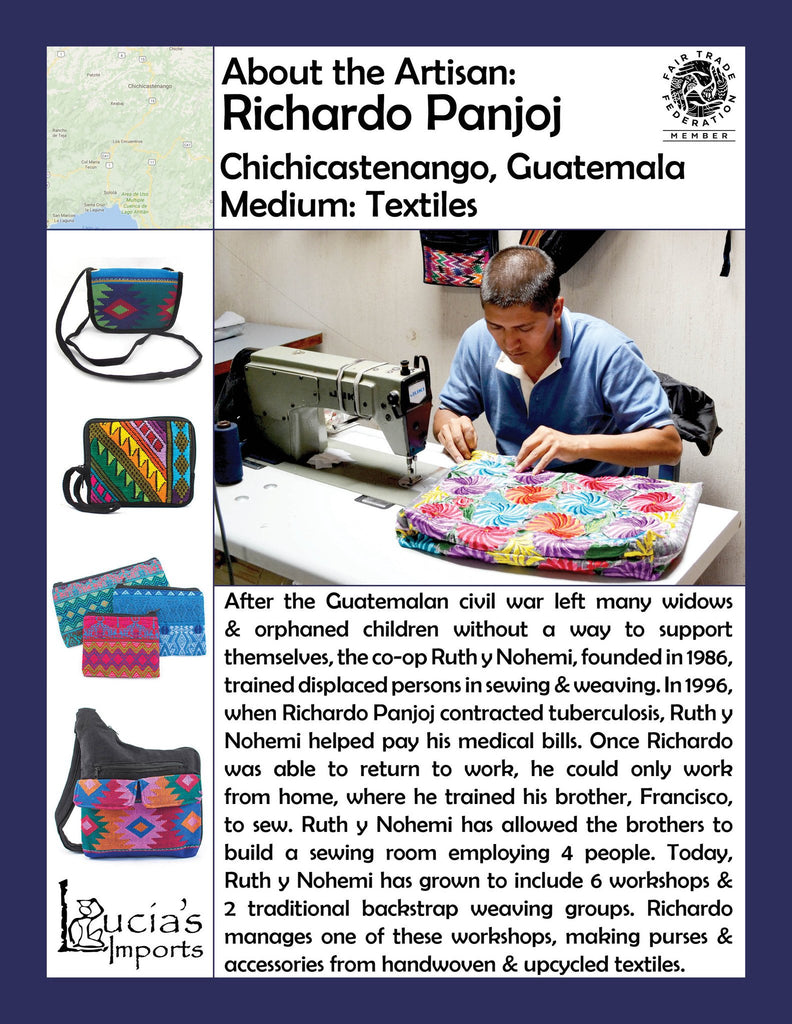 Lucia's World Emporium Fair Trade Handmade Guatemalan Chichi Patch Backpack Artisan Info