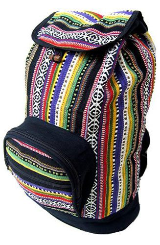 Small Gyari weave cotton backpack with a drawstring closure is perfect for school, a trip to the market or a walk around town. Flap over top toggles closed. One 6″ x 7″ double zippered pocket on the outside and one zippered pocket inside. Fully lined with adjustable straps. 16″ x 10″ x 6″ Assorted stripe colors Pemala