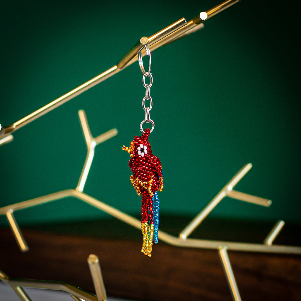 parrot beaded keychain