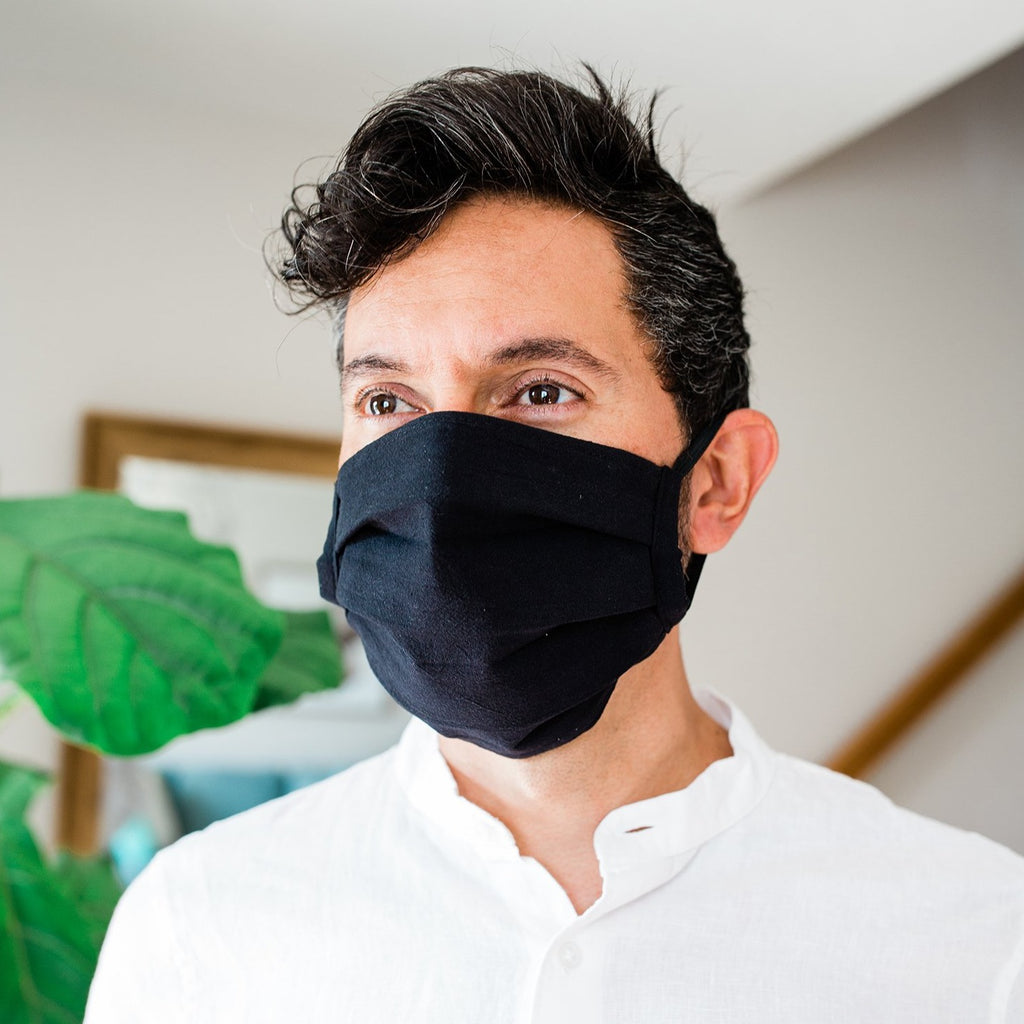 Solid Black Pleated Fair Trade Face Mask