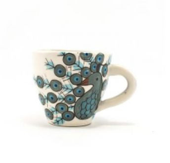 Lucia's World Emporium Fair Trade Handmade Guatemalan Ceramic Peacock Espresso Cup