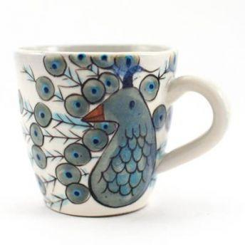 Lucia's World Emporium Fair Trade Handmade Ceramic Peacock Mug from Guatemala