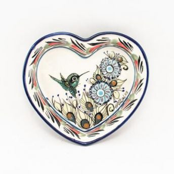 Lucia's World Emporium Fair Trade Handmade Guatemalan Ceramic Heart Dish with Bird