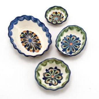 Lucia's World Emporium Fair Trade Handmade Beaded Guatemalan Ceramic Tapas Dipping Bowl Small