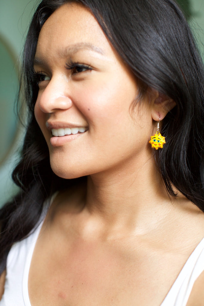 Lucia's World Emporium Fair Trade Handmade Ceramic Sun Earrings from Guatemala