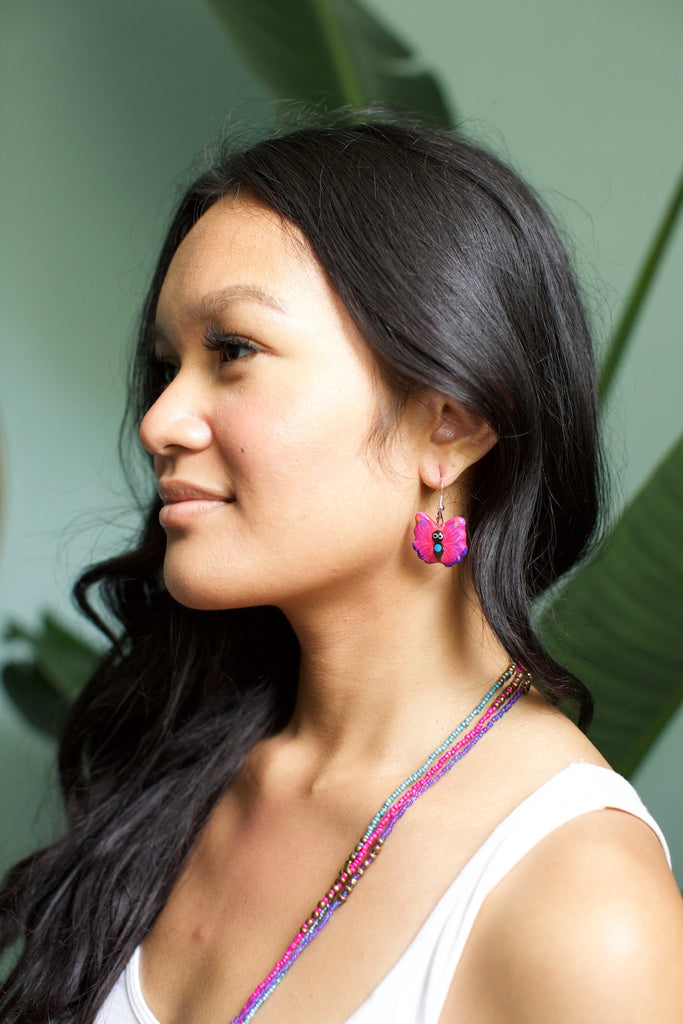 Lucia's World Emporium Fair Trade Handmade Ceramic Butterfly Earrings from Guatemala