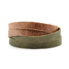 Lucia's World Emporium Fair Trade Handmade Guatemalan Criss Cross Leather Bracelet in tan and green