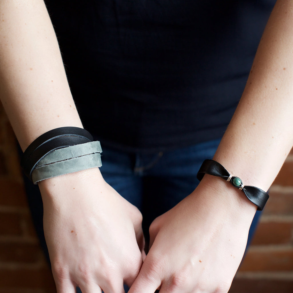 Lucia's World Emporium Fair Trade Handmade Leather Criss Cross Bracelet from Guatemala in Black/Gray