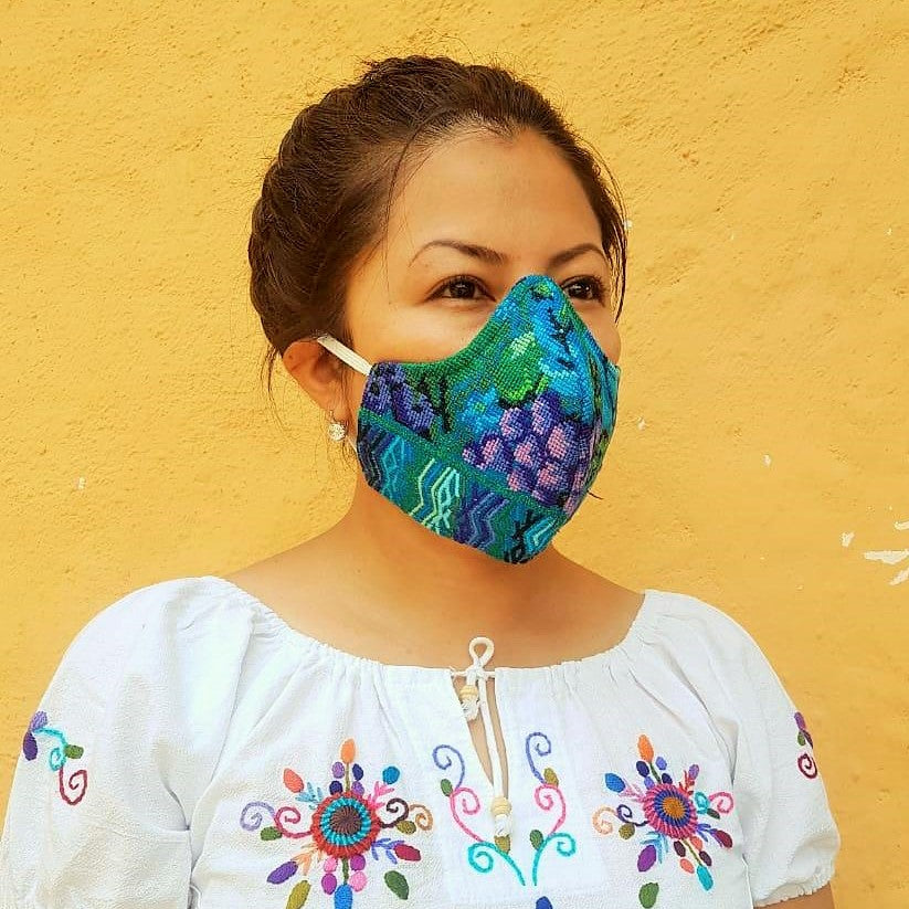 Vintage embroidered fair trade face mask. Made in Guatemala