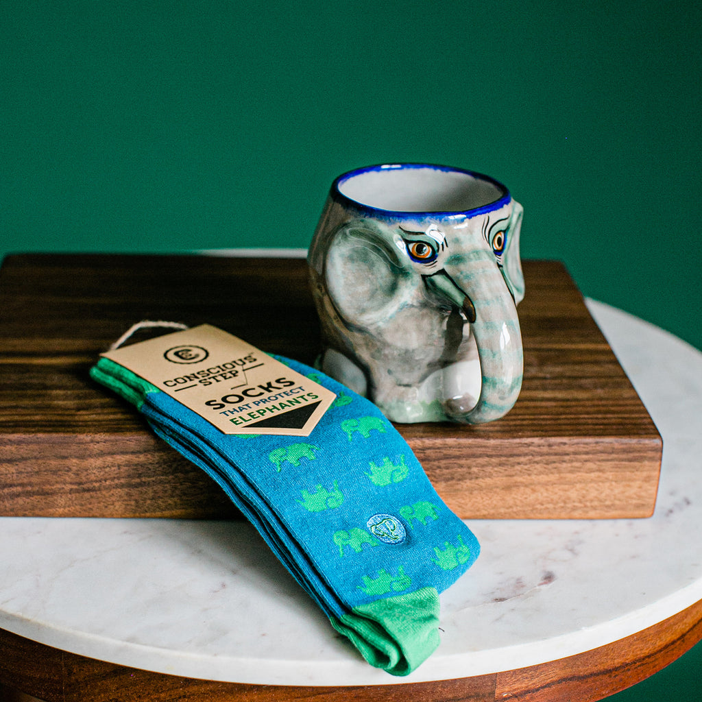 Elephant Lover's Coffee Mug and socks