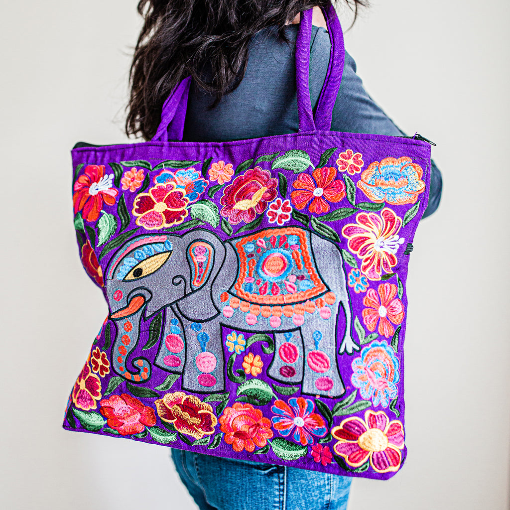 fair trade elephant embroidered tote bag ethical style