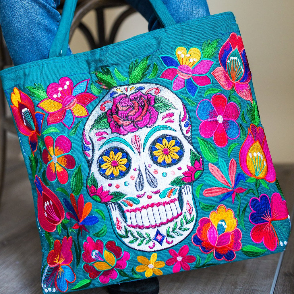 fair trade skeleton embroidered tote bag day of the dead accessories ethical handbag