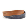 Lucia's World Emporium Fair Trade Handmade Guatemalan Criss Cross Leather Bracelet in brown and blue