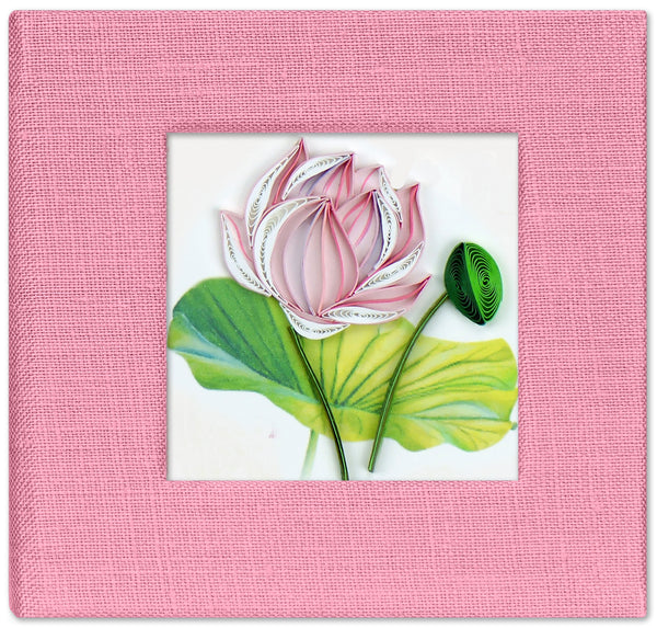 Quilling Card Pnk Lotus Post It