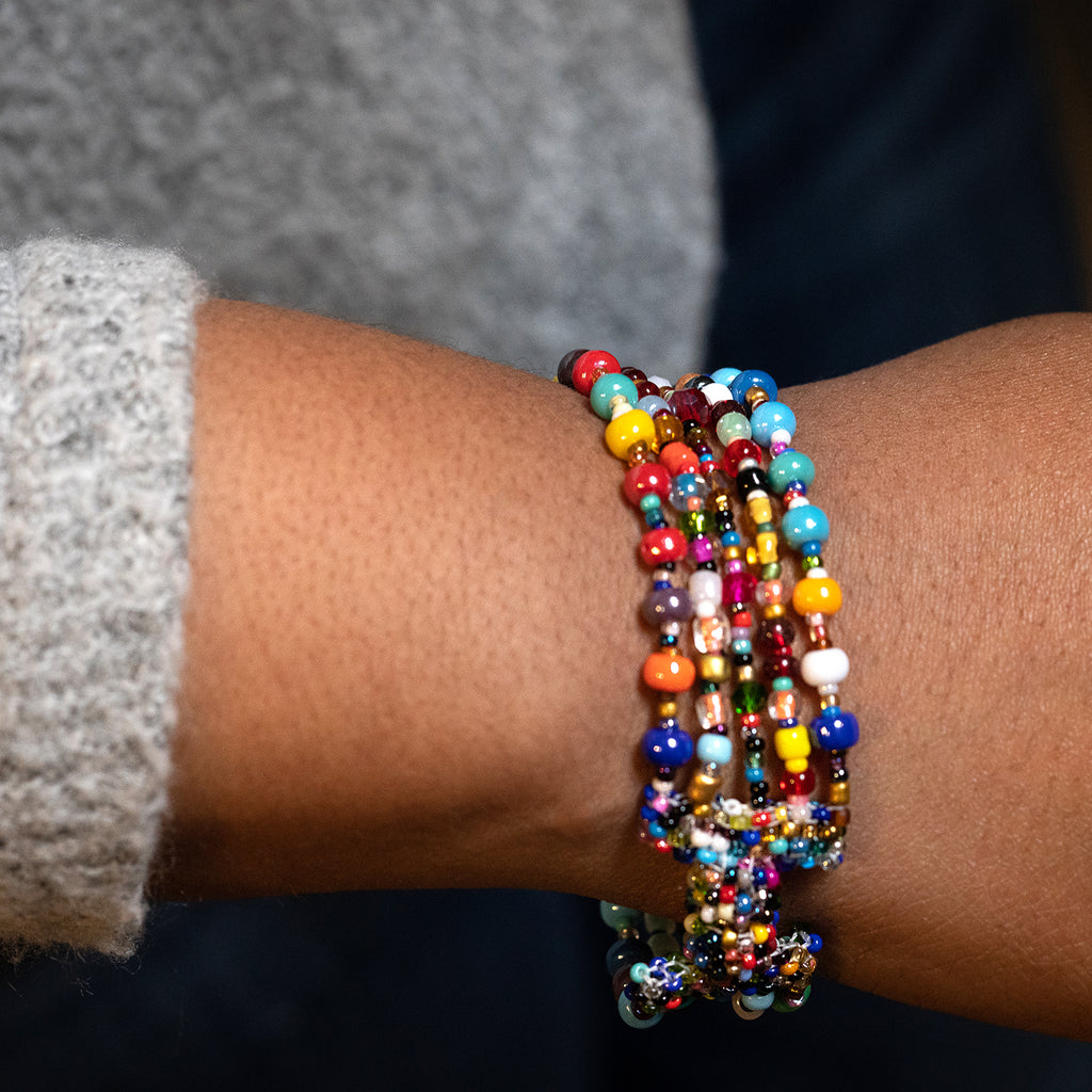 Handmade Fair Trade Guatemalan Beaded Multi Colored Gumball Bracelet