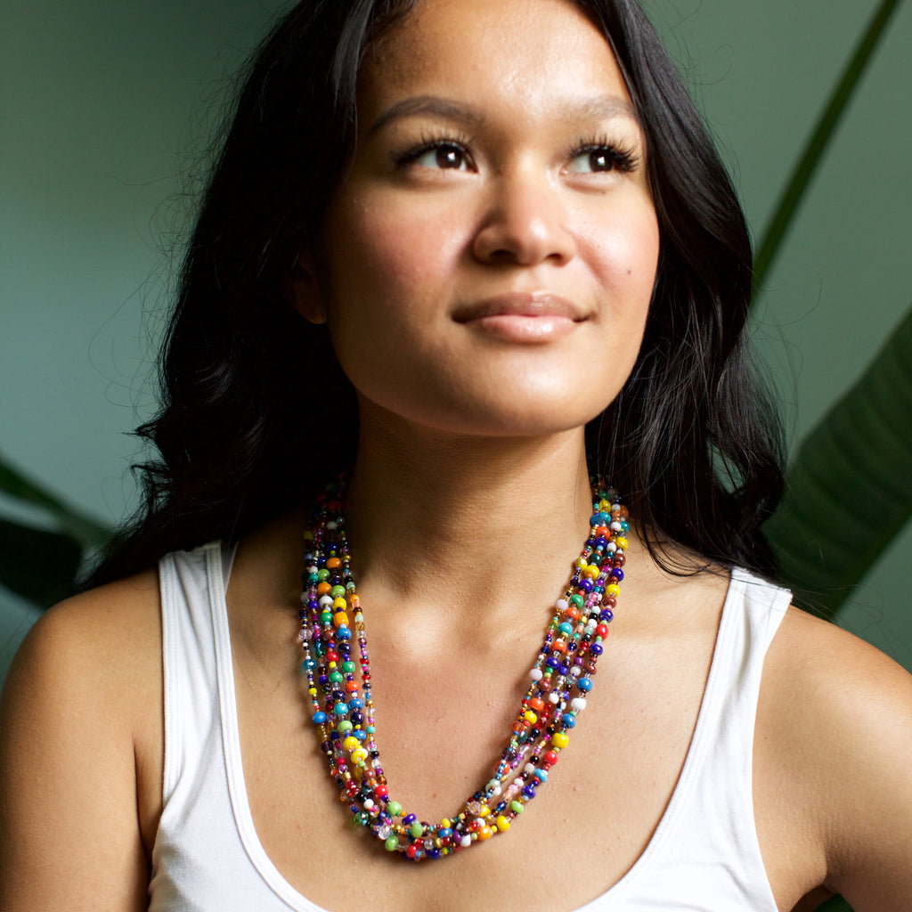 Lucia's World Emporium Fair Trade Handmade Multi Colored Beaded Gumball Necklace from Guatemala