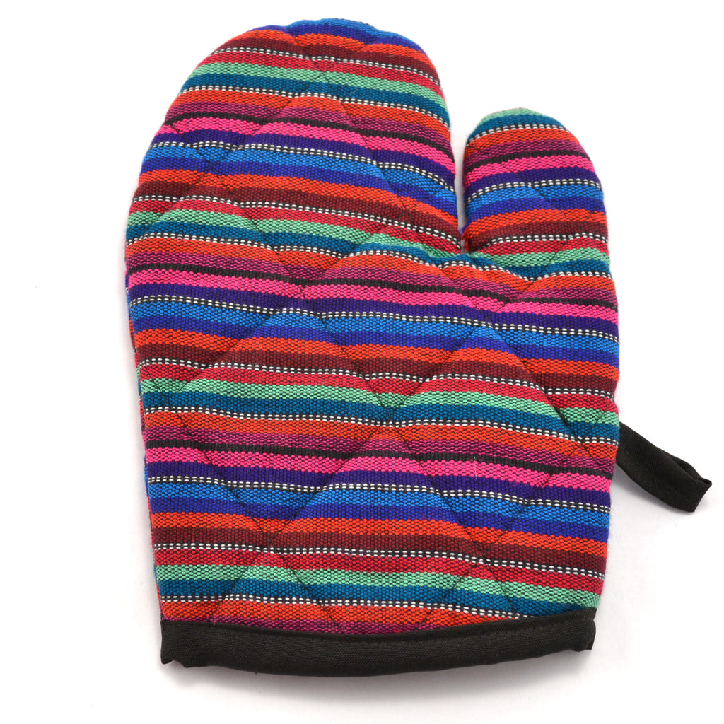 Lucia's World Emporium Fair Trade Handmade Guatemalan Woven Fabric Small Oven Mitt