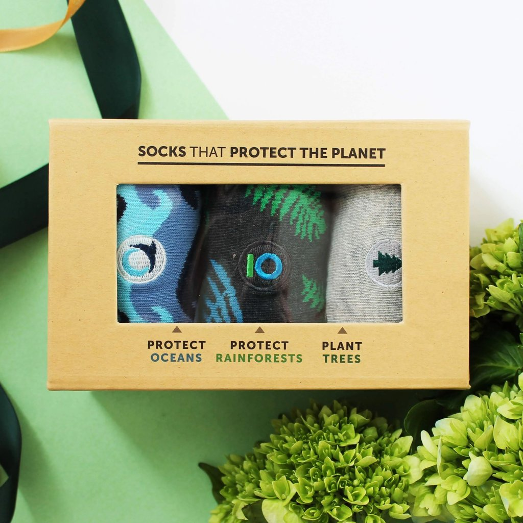 ocean rainforest trees socks blue green grey fairtrade protect
