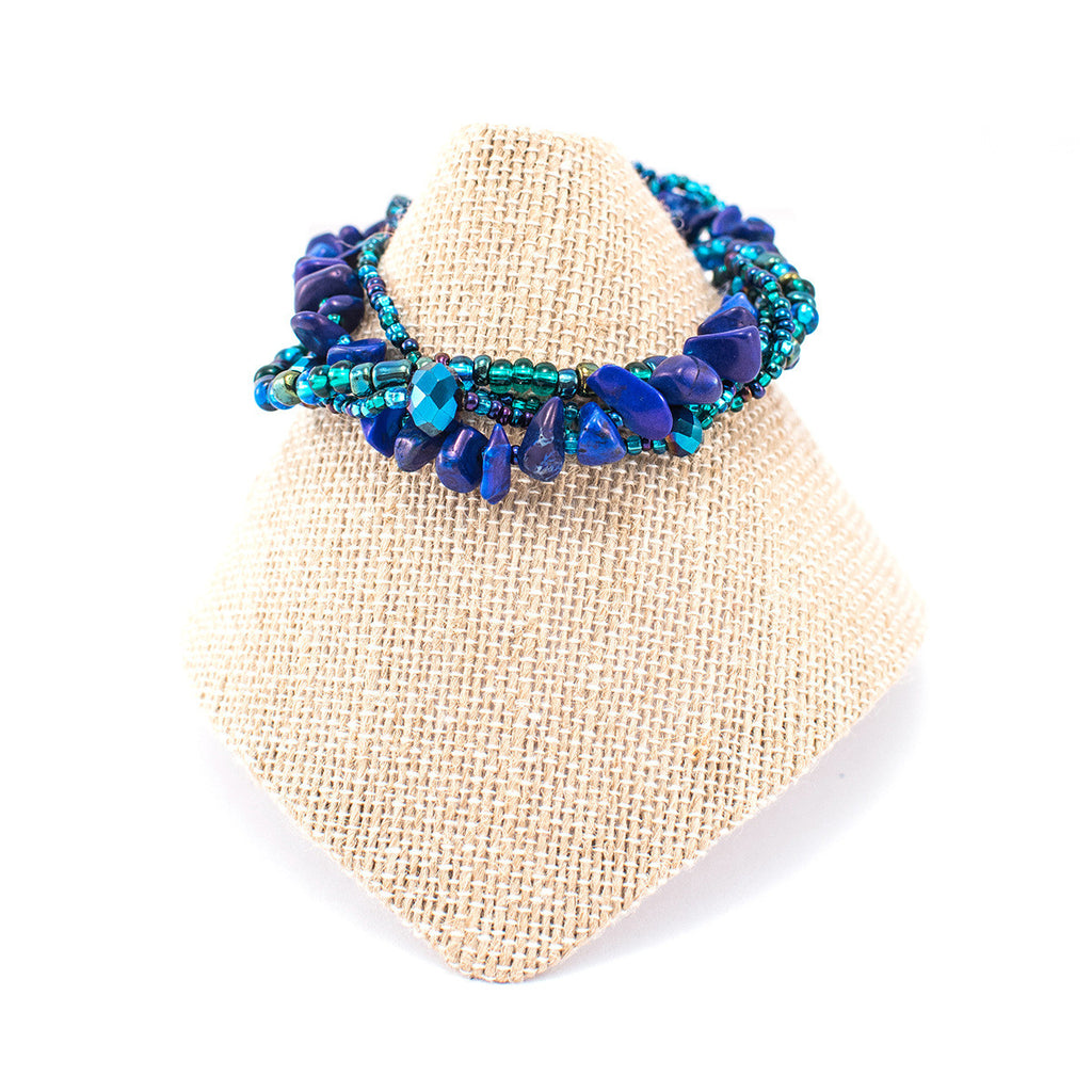 Lucia's World Emporium Fair Trade Handmade Guatemalan Beaded Four Strand Rock Candy Bracelet in ocean