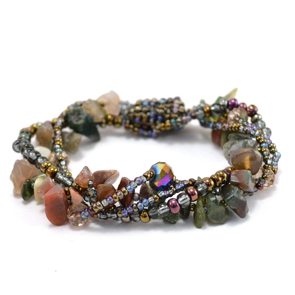 Lucia's World Emporium Fair Trade Handmade Guatemalan Beaded Four Strand Rock Candy Bracelet in Garden