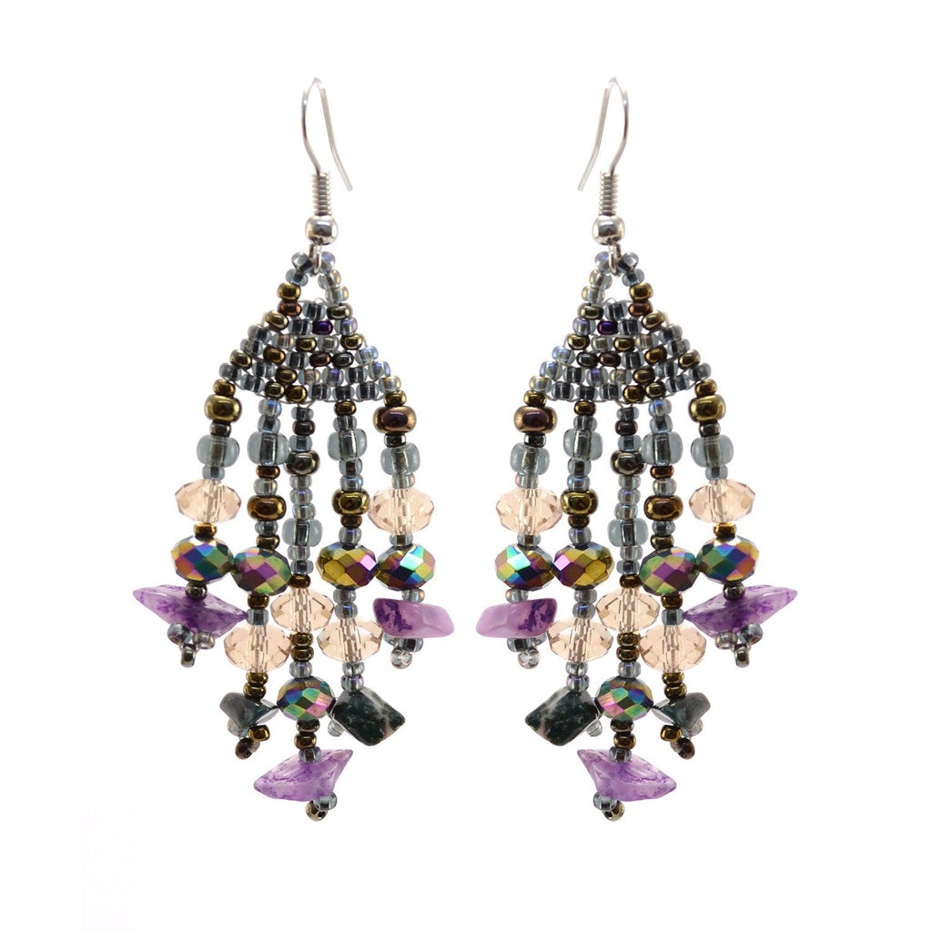 Lucia's World Emporium Fair Trade Handmade Beaded Feather Stone Earrings from Guatemala