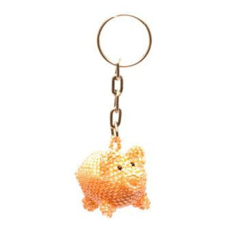 hand-beaded pig key chain handmade in Guatemala