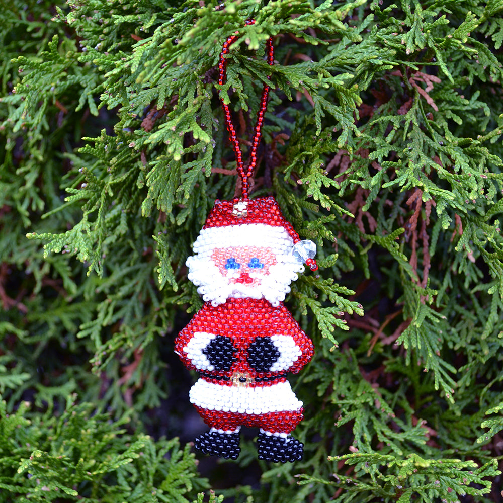 Large Beaded Santa Ornament