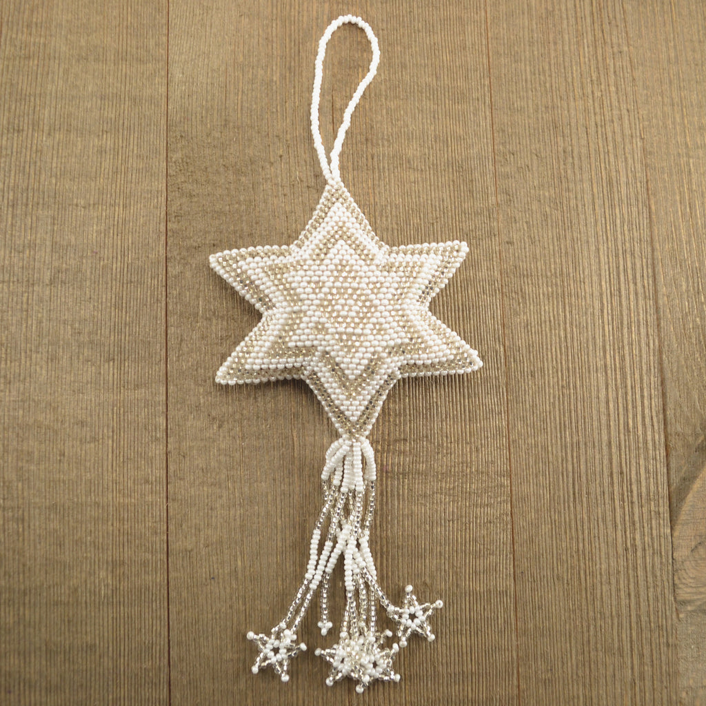 Large Beaded White Star Ornament