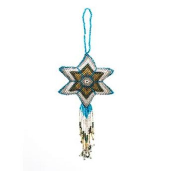 Large Beaded Multi Color Star Ornament