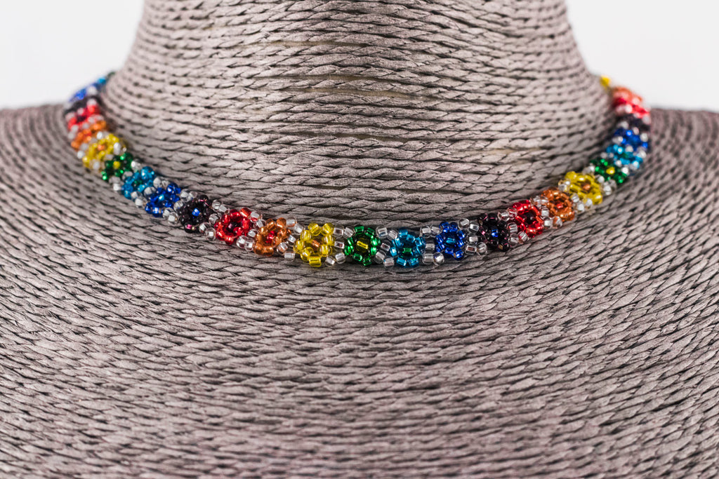 Rainbow Beaded Fair Trade Flower Necklace