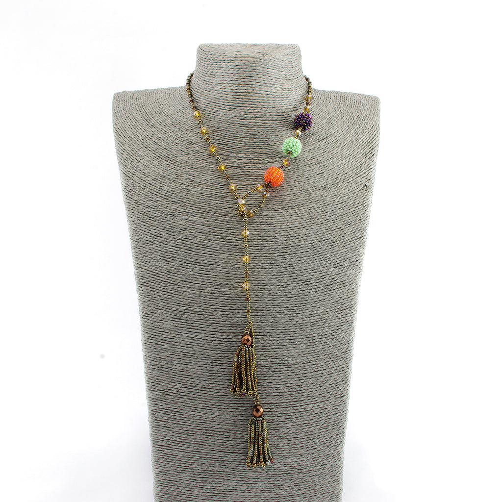 Lucia's World Emporium Handmade Fair Trade Guatemalan Beaded Fiesta Lariat Necklace in Multi
