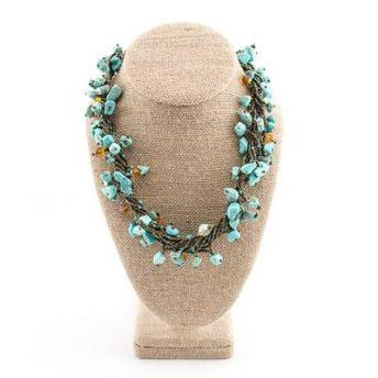 Lucia's World Emporium Fair Trade Handmade Guatemalan Beaded Chunky Stone Necklace in Turquoise & Brown