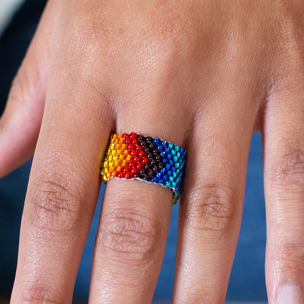 rainbow beaded ring fair trade guatemalan