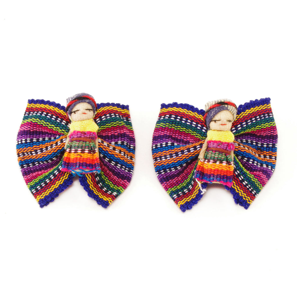 Lucia's World Emporium Fair Trade Handmade Guatemalan Worry Doll Barrette Set