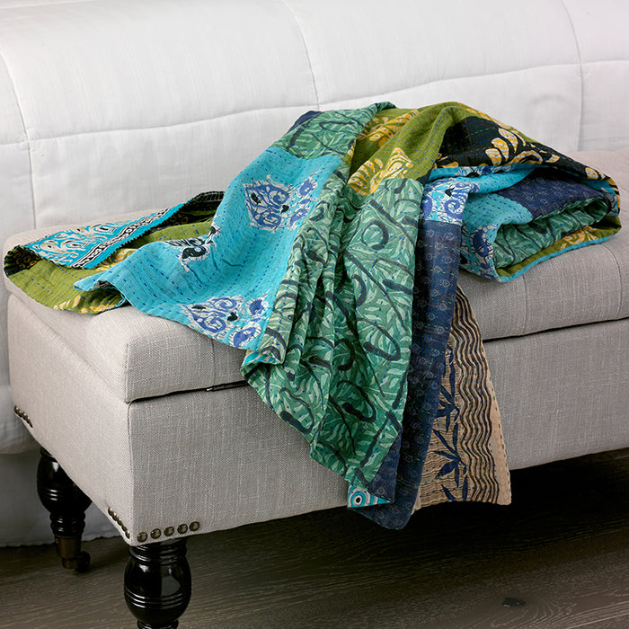 Fair Trade Kantha Throw Blanket