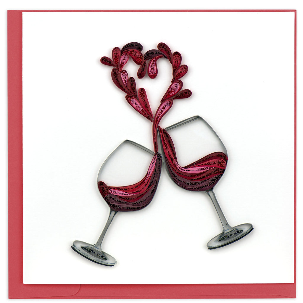 quilling card, wine glasses heart