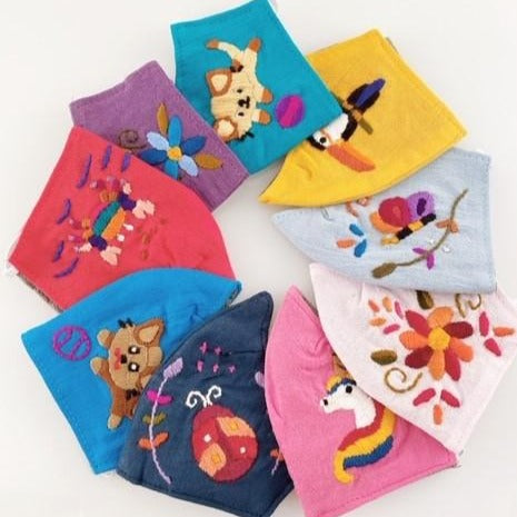 Children's Hand Embroidered Face Masks fair trade made in Guatemala