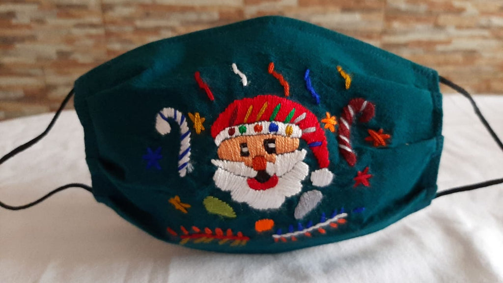 Children's Holiday Face Mask Hand Embroidered