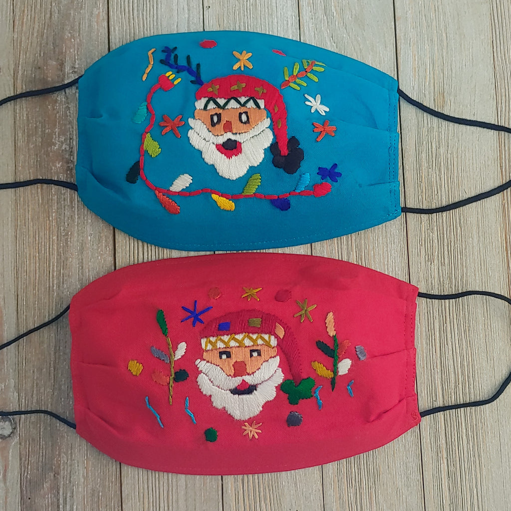 Adult Holiday Face Mask Hand Embroidered