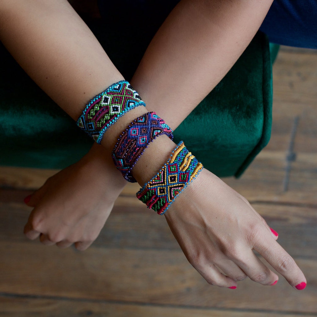 Lucia's World Emporium Fair Trade Handmade Guatemalan Woven Magnetic Friendship Cuff