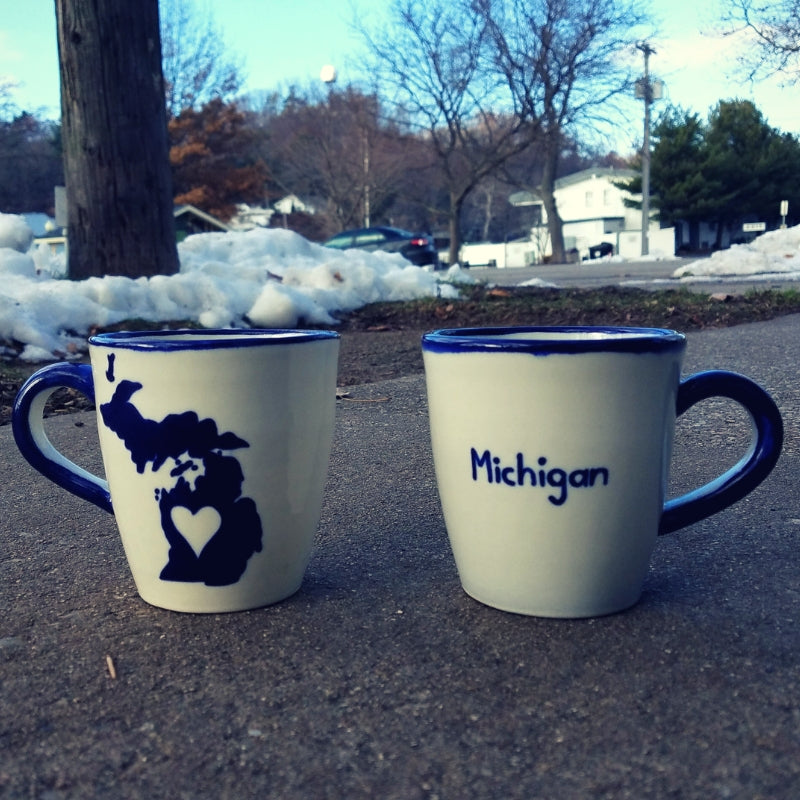 Michigan mug, coffee cup, fair trade, I love Michigan, coffee, coffee mug, Grand Rapids, Saugatuck, Douglas, Holland, fair trade coffee cup, hand made pottery