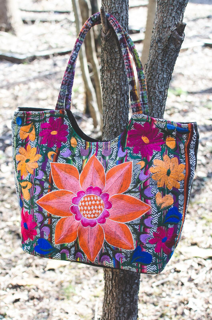Lucia's World Emporium Fair Trade Handmade Embroidered Sunflower Purse from Guatemala