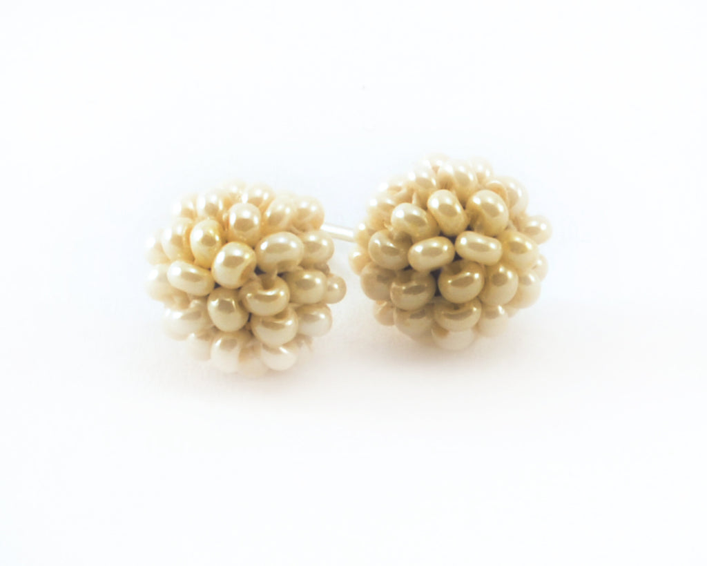 Lucia's World Emporium Handmade Fair Trade Beaded Nyx Earring from Guatemala in Cream